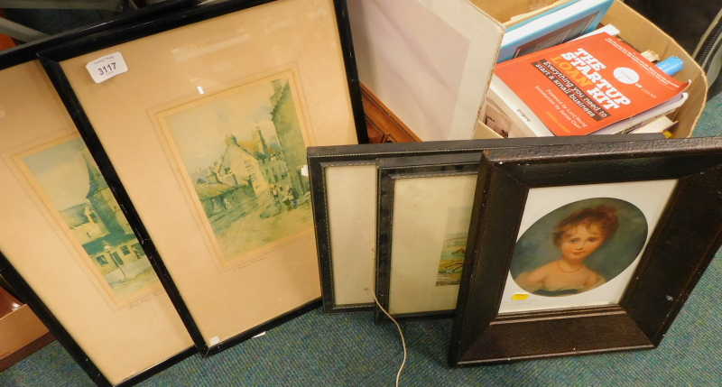 Various pictures, prints, etc., to include Thomas Lawrence print portrait of Lady Emily Cowper, fram