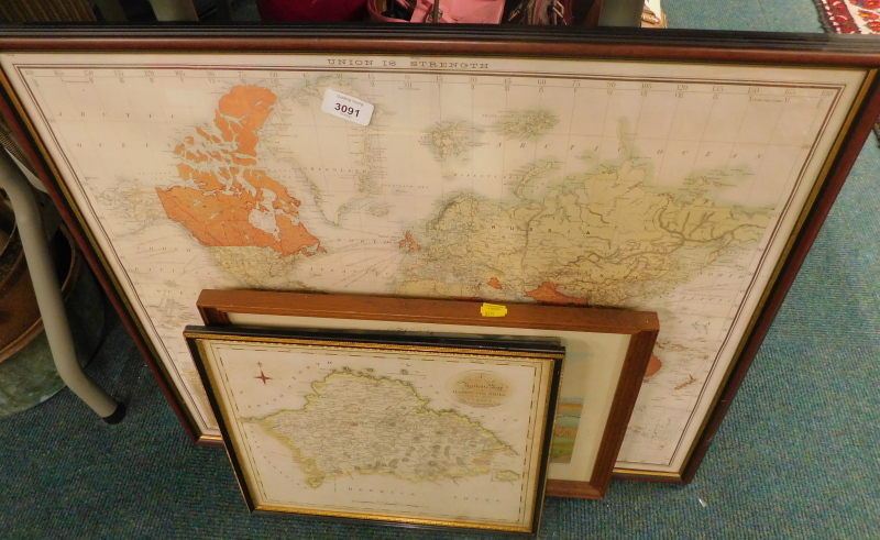 A quantity of prints of maps, to include Haddingtonshire, Berwickshire, hunting print, etc. (a quant