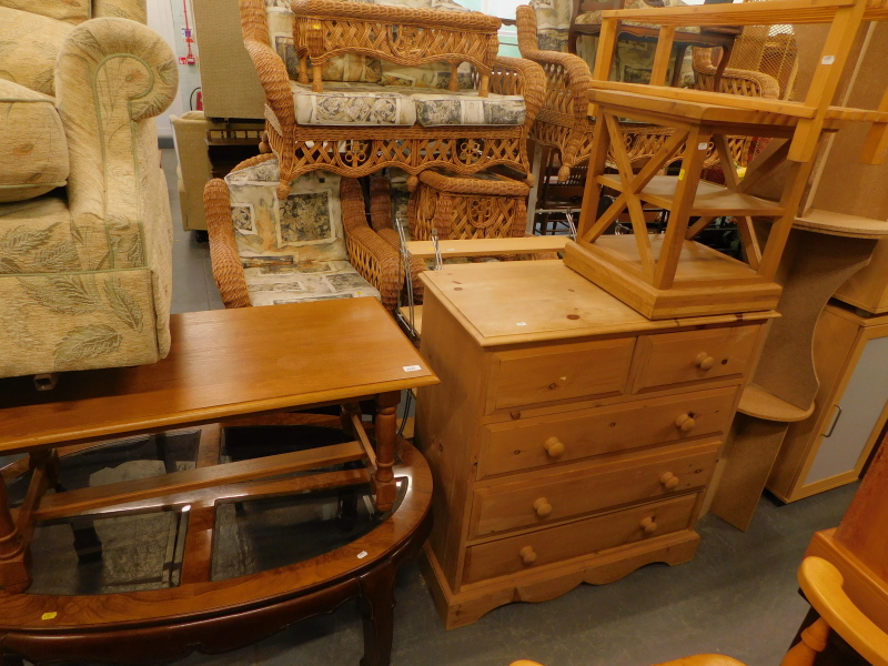 A collection of furniture, to include a pine chest of two short and three long drawers, 93cm high, 9