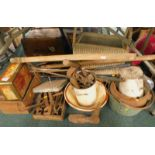 General household effects, to include a Lloyd Loom style wicker basket, lacking lid, stoneware mixin