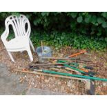 A quantity of garden tools, to include rake, spades, brushes, galvanised metal mop bucket, etc. (a q