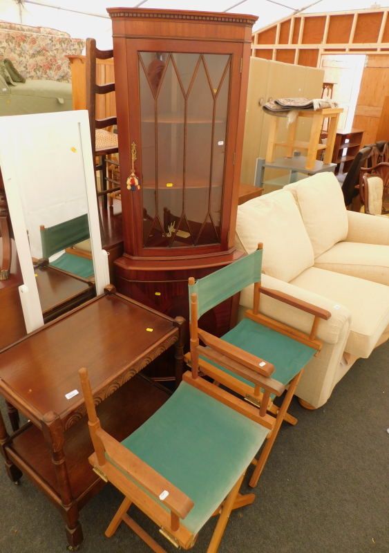 A collection of furniture, to include an oak two tier hostess trolley, a pair of directors type chai