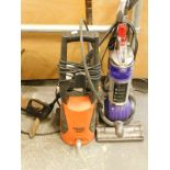A Dyson DC24 upright vacuum cleaner, a Black and Decker PW1500TD pressure washer, etc.