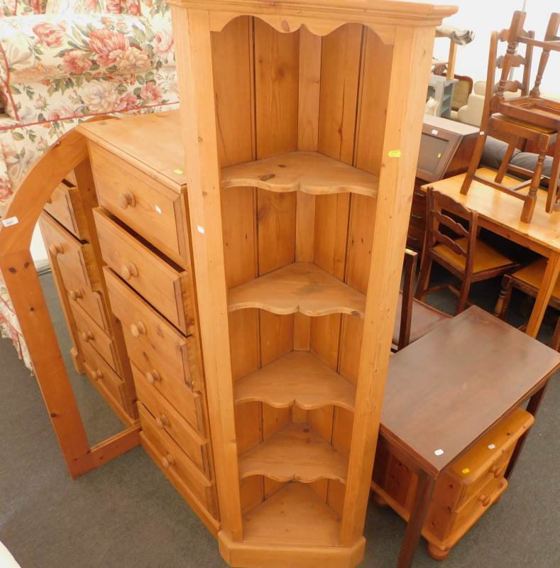 A collection of furniture, to include a pine six drawer chest, 140cm high, 56cm wide, 41cm deep, a p