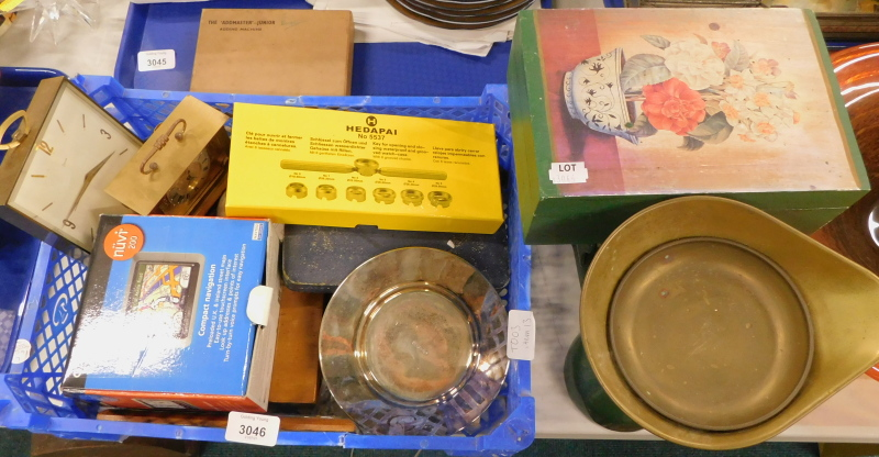 A quantity of brass cased mantle clocks, to include Swiza, a silver plated dish, cased flatware, a G
