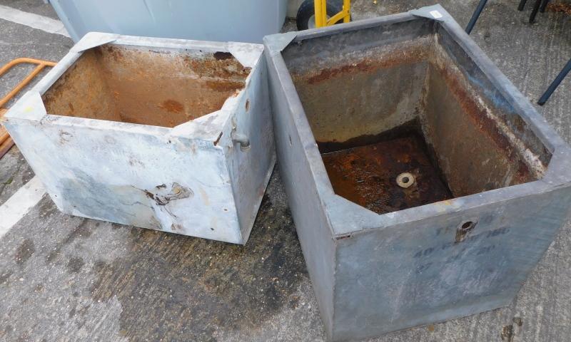 Two galvanised metal animal feeders or planters. (2)
