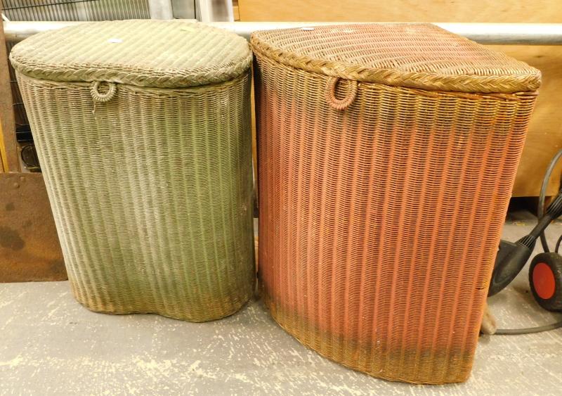 A quantity of Lloyd Loom style linen baskets, etc. (a quantity)