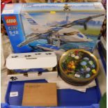 A Lego City police helicopter set, boxed, a quantity of cabinet plates, an Addmaster Junior adding m
