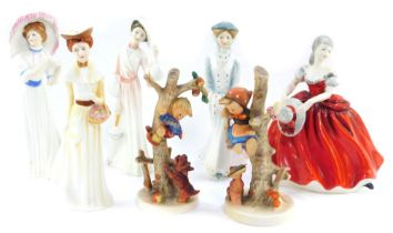 Four Royal Doulton figures, comprising Catherine In Spring HN3006., Sarah In Winter HN3005., Emily I