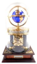 A Chinese brass and marble astrolabium clock, showing the globe and moon, cylindrical twenty four ho