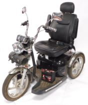 A Sportrider Mobility Scooter, black framed, three wheels, with battery.