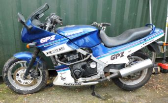 A Kawasaki GPZ500 S motorbike, Registration G36 CRD, having 18276 miles, MOT expired 30/09/11.