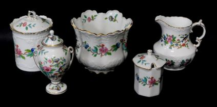 A group of Aynsley porcelain decorated in the Pembroke pattern, comprising a jardiniere, milk jug, t