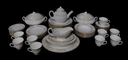 A Royal Worcester porcelain tea and dinner service decorated in the Lagoon pattern, comprising bulle