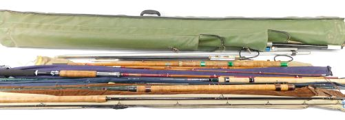 A fishing compendium, comprising SC/C multi rod, SC Ledger 10, Hardmatch 13, F/G pike 8, and carbon