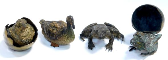 An Austrian early 20thC cold painted bronze figure of a duck, in the manner of Franz Bergman, stampe