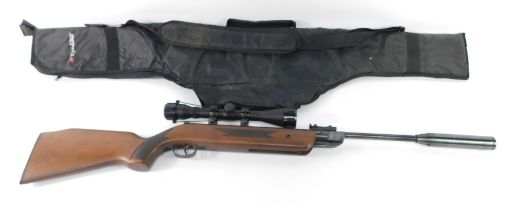 A Westlake .2 calibre air rifle, No 110301115., with a 4x40 gun sight and silencer, cased.