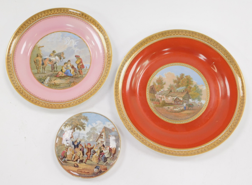 A 19thC Prattware pottery pot lid, depicting The Village Wedding, After Teniers., together with tw - Image 2 of 2