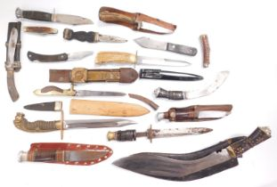 Assorted knives and bayonets, including Kukris. (a quantity)