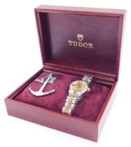 A Tudor Princess Oyster Date lady's bi-colour wristwatch, circular gilt dial with centre seconds, da
