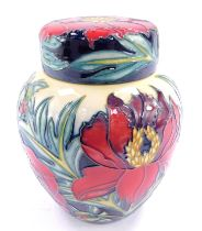 A Moorcroft pottery ginger jar and cover decorated in the Tree Peony pattern, c2004, painted and imp