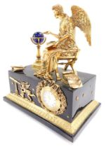 A Franklin Mint Angel of The New Age mantel clock, for the V & A Museum, No MA1057., 22cm wide.