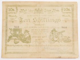 A Mafeking Ten Shillings Siege note, No 834., Standard Bank, signed by Captain H Greener, Chief Paym