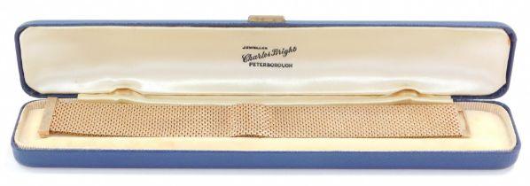 A 9ct gold brick link bracelet, plain over clasp, 44.6g.