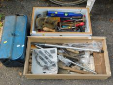 A selection of hand tools, to include spirit levels, wrenches, planes, spanners, wire strippers, raw