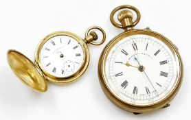 Two pocket watches, to include a Hunter AWW and Co Waltham gold plated pocket watch, and a Bradford