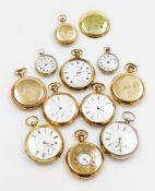 A collection of eleven pocket watches, to include seven gold plated examples by Elgin, Dennison, Wal