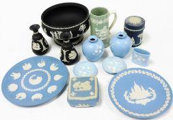 A group of Wedgwood Jasperware, to include mainly blue Wedgwood Jasperware collectors plates, trinke