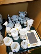 A group of Aynsley Cottage Garden china, to include vases, wellington boots and frames. (2 trays)