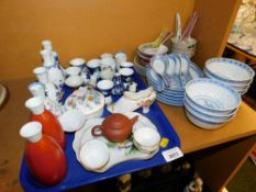 A group of ceramics, to include miniature Oriental terracotta teapot, rice bowls and spoons, jars, A