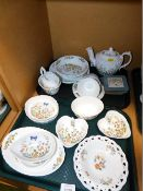 A group of Aynsley Cottage Garden wares, to include pin dishes, bowls, teapot, coasters, teacups, mi