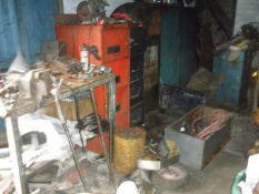 The residual contents of workshop. To include three steel work benches, two filing cabinets, vintag