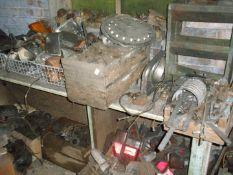A large quantity of Collectors car parts and automobilia, comprising fuel pumps, indicator, rear len