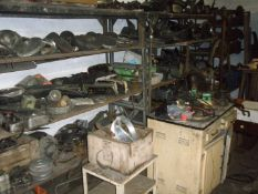 Classic car parts, comprising door mirrors mostly from cars of the 1970s and 80s, headlamp units, wa