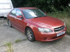 A Subaru Legacy, registration FP54 WJC, 62,609 miles, vehicle starts and has been run around the yar