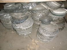 A quantity of plastic wheel trims and five engines, etc., for Montego, Ford, etc. All situated in ma