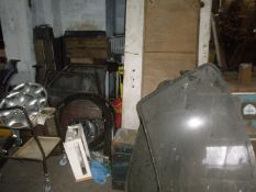 Starting handles and automobilia, etc., comprising approx one hundred starting handles, vintage batt