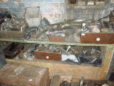 Collectors car parts and automobilia, comprising decoke sets, chrome door handles, etc. All situated