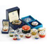A quantity of enamel boxes, to include a Bilston & Battersea enamels, Buckley Art, small Crummels pi