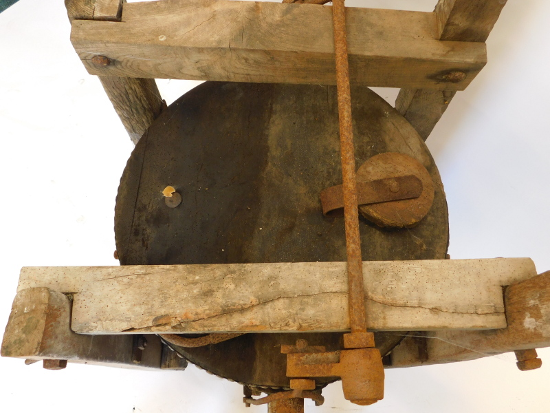A large set of blacksmith's or industrial bellows, with cradle, etc., 75cm wide. Auctioneer Announce - Image 4 of 4