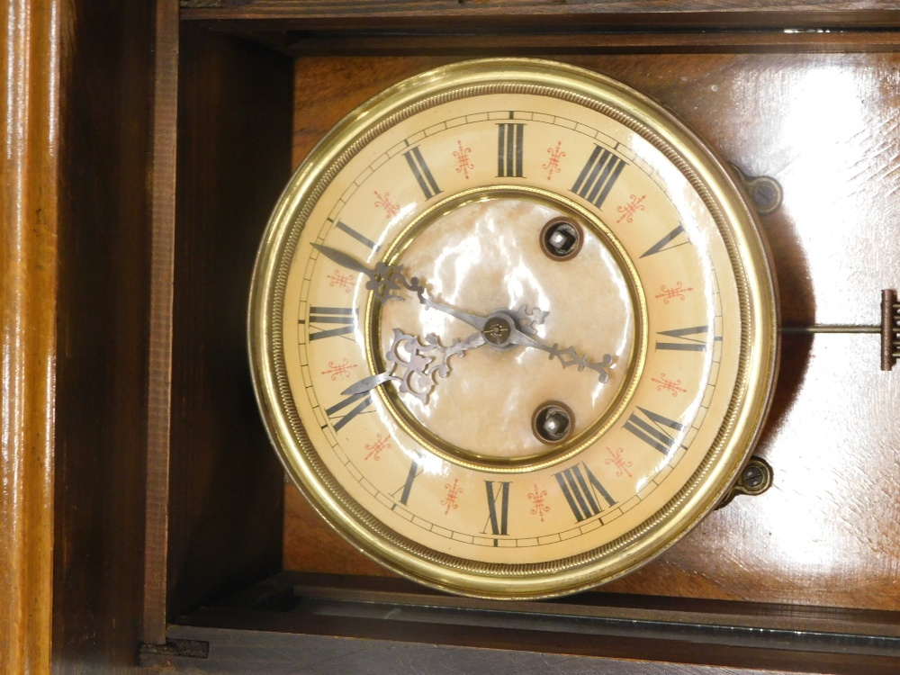 A Vienna type walnut wall clock, with part paper dial, 100cm overall. - Image 2 of 2