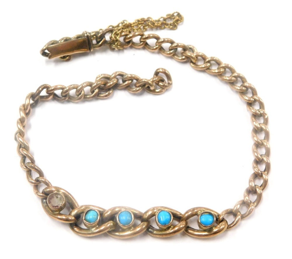 A turquoise set bracelet, with five central large curb link section, each set with turquoise on curb