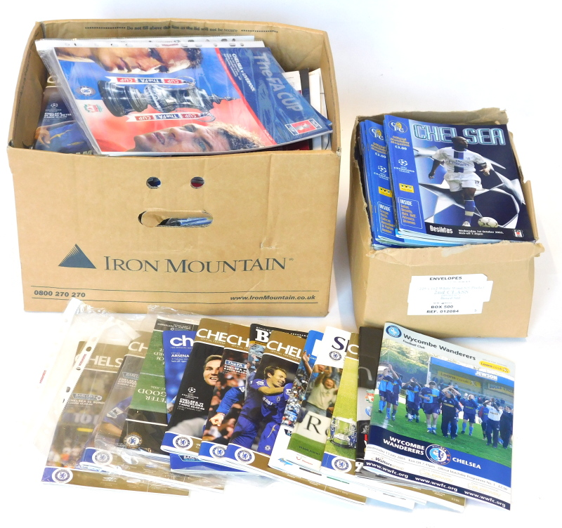 A quantity of early 2000s Chelsea football programmes, mainly 2003-2005 season, a number signed by t