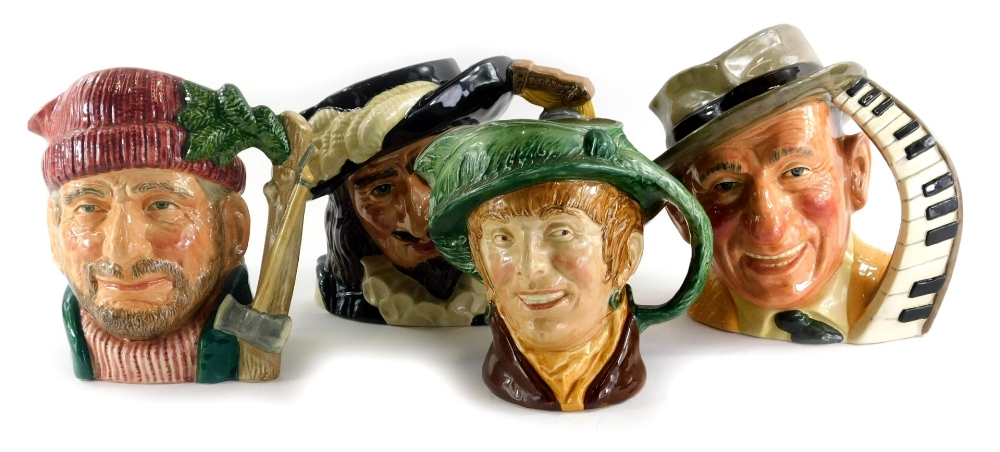 Four Royal Doulton character jugs, Jimmy Durante, 'Arriet, Lumberjack and Scaramouche .