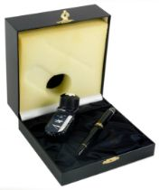 A Montblanc Meisterstuck 149 black fountain pen, in original fitted case with ink, the case 17cm wid