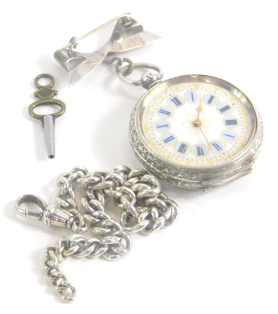A Victorian silver ladies fob watch, serial number 359072, with an enamel Roman numeric dial, with b